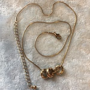 21in Gold necklace with three circle charms